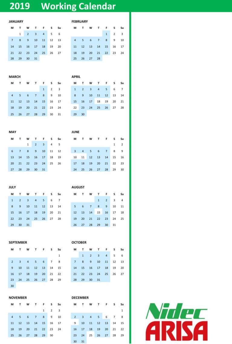 Working Calendar 19