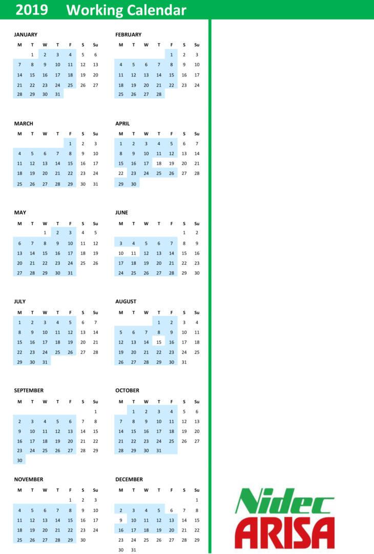 Working Calendar 19 Ok