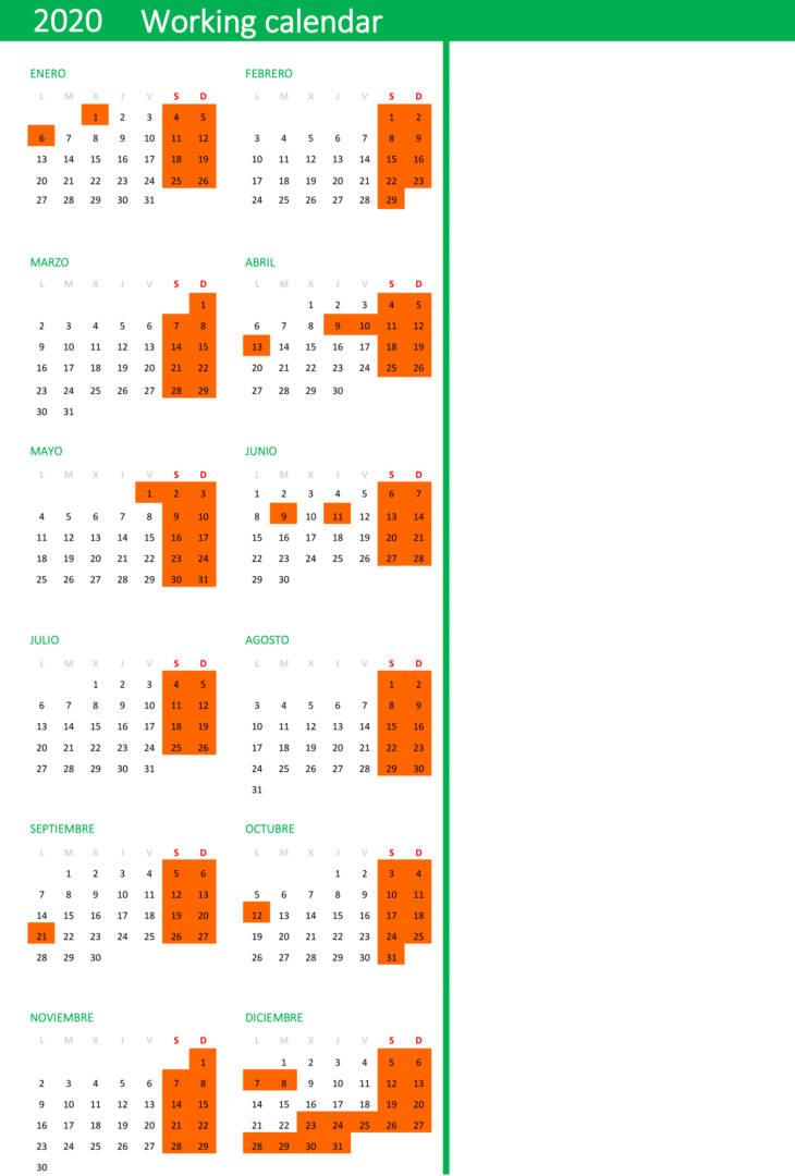Working Calendar 20